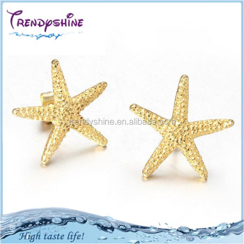 Latest Design Gold Stainless Steel Starfish Earrings