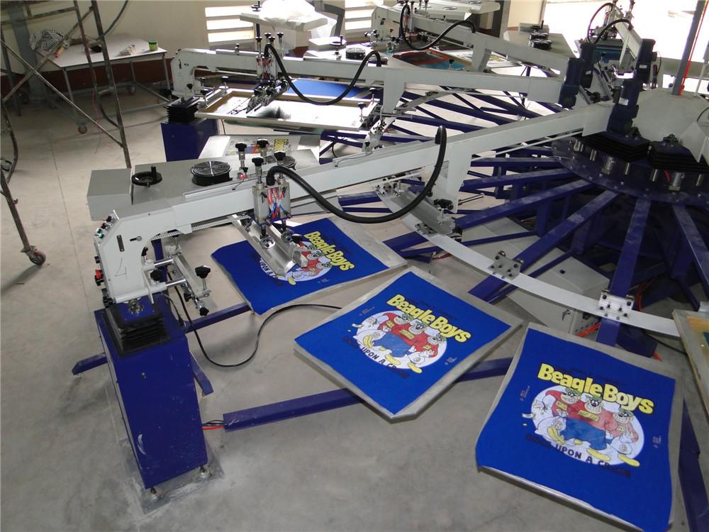 8 color automatic silk screen machine plastisol printing for Screen printing machine for t shirts for sale