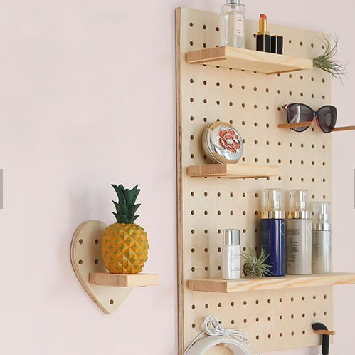 Ins Non-Perforated Wood Peg Board Nordic Decorative Racks Living Room Wall Partition Kitchen Multifunctional Pegboard