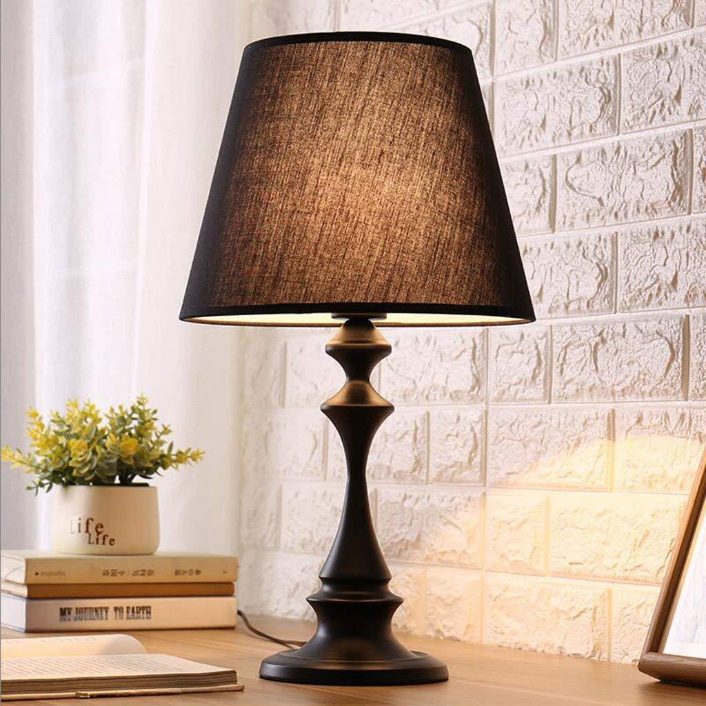 Le fu yan Simple Modern Table Lamp Bedroom Bedside Study Hotel Warm Creative Fashion Decorative Lights (Color : Black)