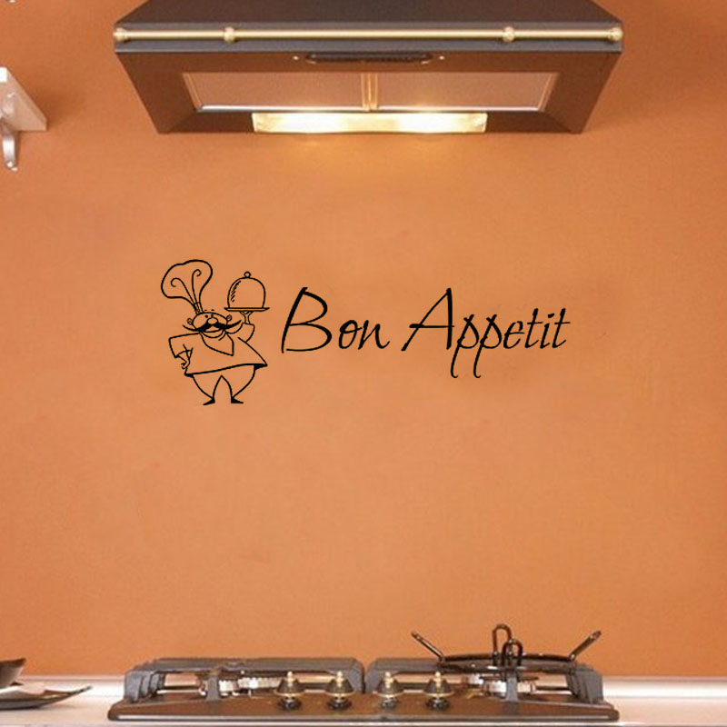 Bon Appetit Wall Sticker French A Chef Decorative Vinyl Wall Decals Removable Wall Stickers Home Decor High Quality