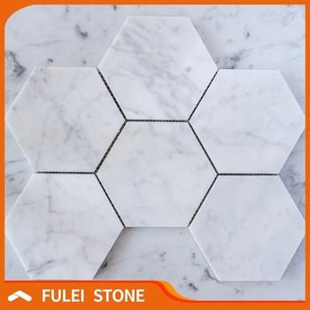 Günstige Bianco Weißem Carrara Hexagon Geschliffen Marmor Mosaik - Mosaik fliesen billig günstig