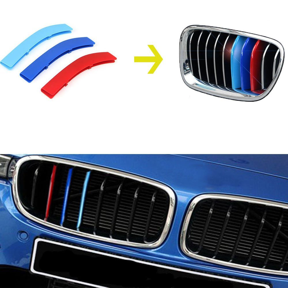 Eastop Dynamics BMW 3/5 series X5X6X3X4X1 modified tricolor M-Colored Grille Insert Trims (BMW 3 Series 13-15 /8 Beam Standard Grill)