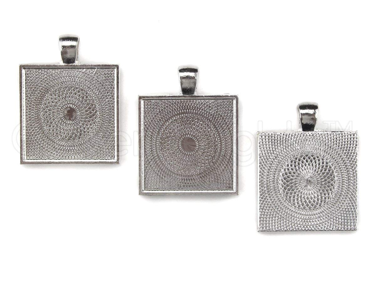 20 CleverDelights Square Pendant Trays - Shimmering Silver Color - 1 Inch - 25mm - Pendant Blanks Cameo Bezel Settings Photo Jewelry - Custom Jewelry Making - 1""