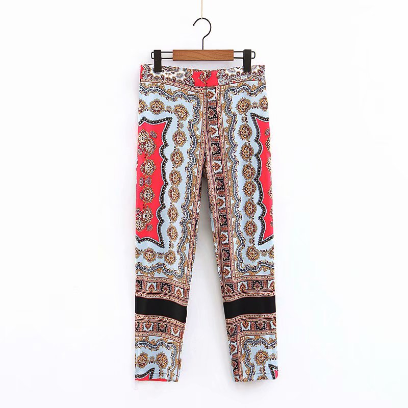 Flower printed fashion design women pants casual summer trousers фото