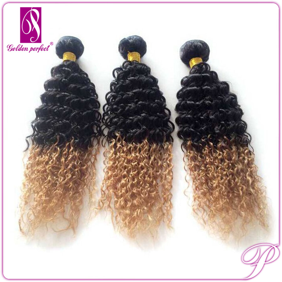 Sell Best Colored Two Tone Hair Weave Curly For Black Woman Per Bond