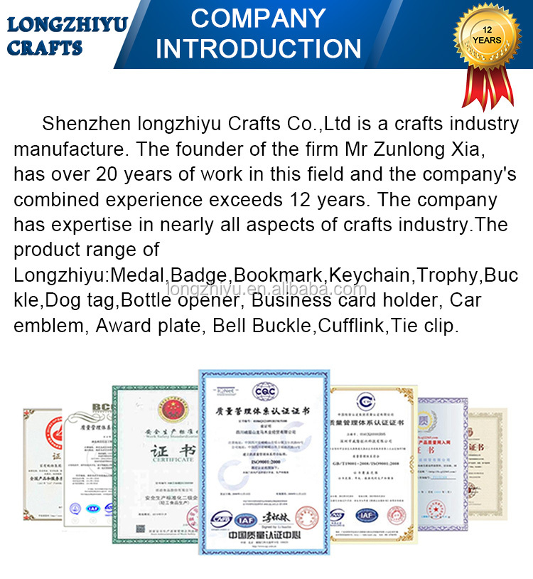 Longzhiyu 12years 3D Ultimate royal Zinc die casting medal medallion award sports coin custom metal lapel pin badge manufacture
