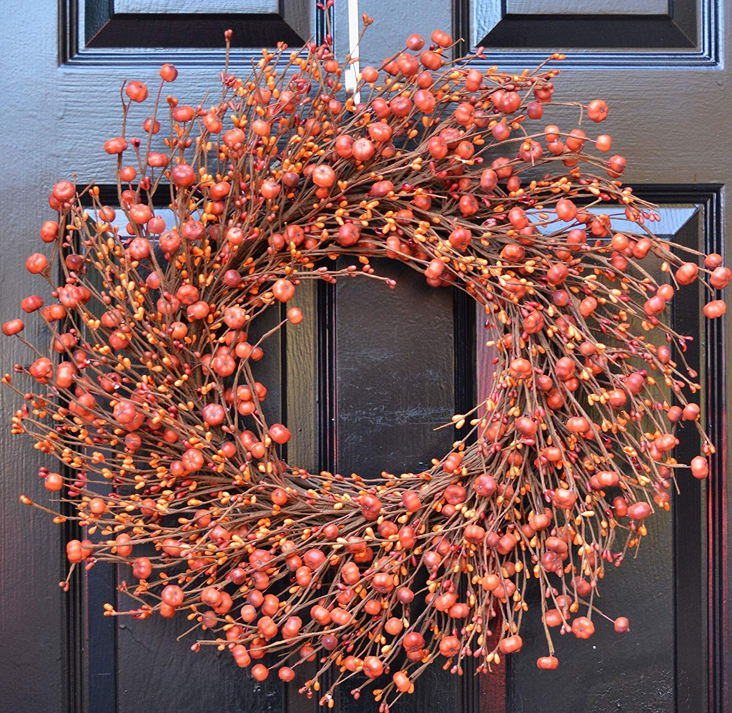 Elegant Holidays Handmade Fall Pumpkin Berry Wreath, Decorative Front Door to Welcome Guests-for Outdoor or Indoor Home Wall Accent Décor- Great for Autumn, Thanksgiving and Halloween- 16-24 inches