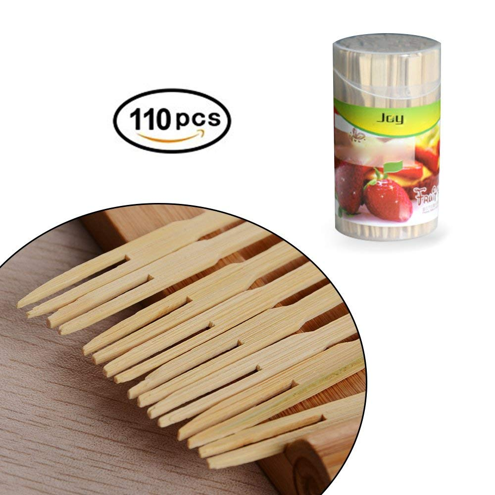 Bamboo Forks 3.5 Inch, Mini Food Picks for Party, Banquet, Buffet, Catering, and Daily Life. Two Prongs - Blunt End Toothpicks for Appetizer, Cocktail, Fruit, Pastry, Dessert. (One Pack of 110 PCS)