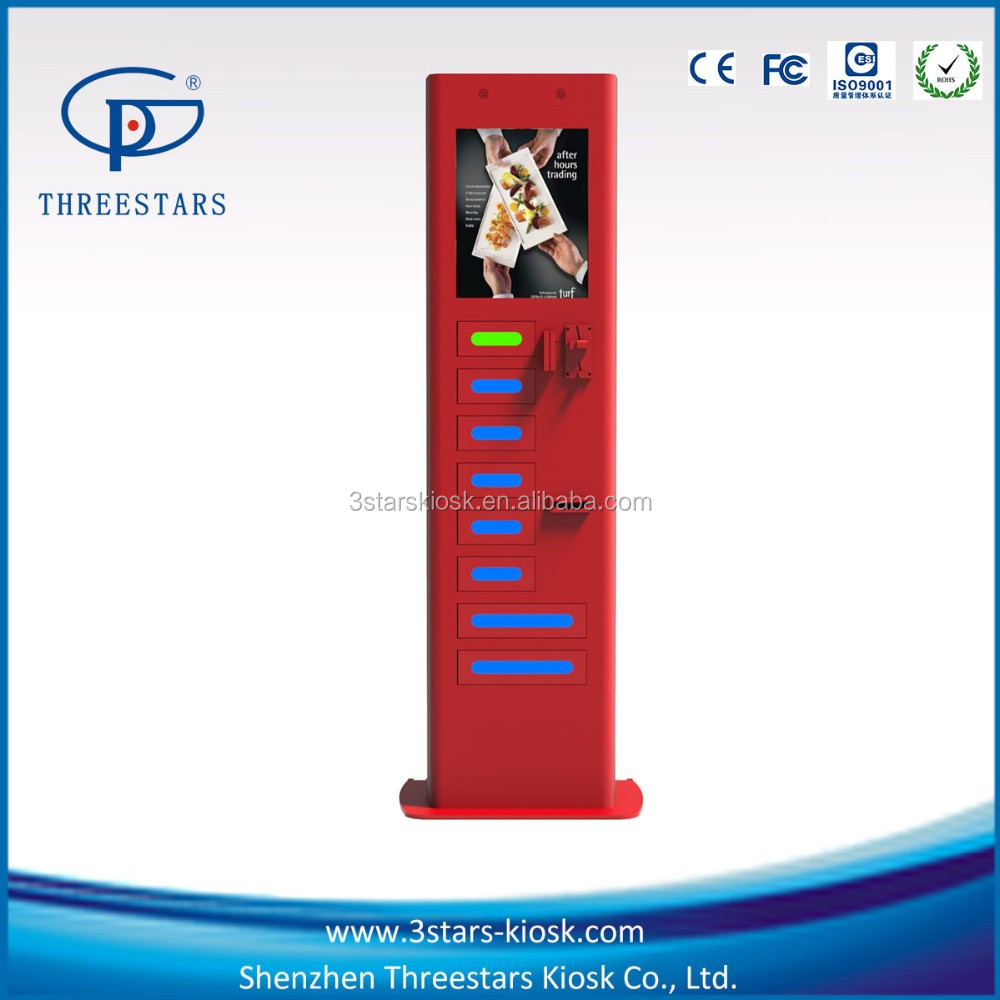QR bar code coin operated public self-service phone charging station with locker