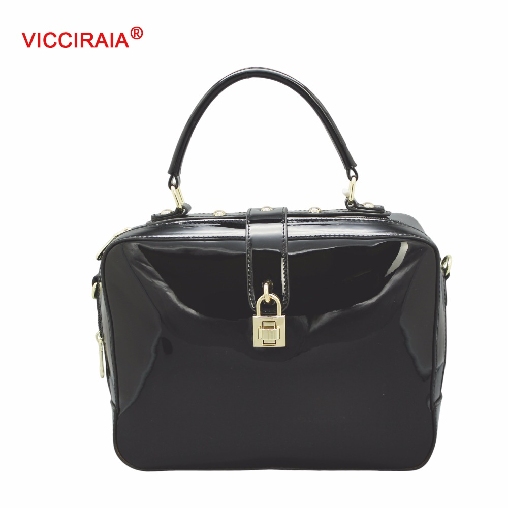 VICCIRAIA Hot Selling Western Style Imitation Leather Shoulder Bag Tote Hand Bag Black PU Women Handbag