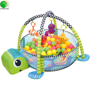 Hot Sales On Amazon Animal 3-in-1 Grow with me Activity Gym and Ball Pit Baby Play mat