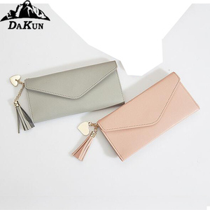 Personalized Zipped pu women wallet with strap