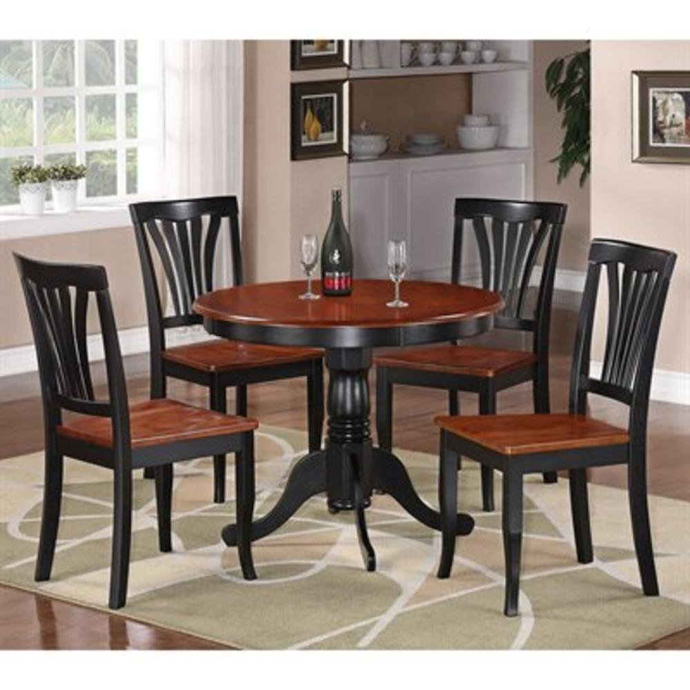 East West Furniture ANAV Antique Round Table Dining Set with Wood Seat Chairs (ATG_ANAV3BLKW), Black & Cherry, 2 Chairs