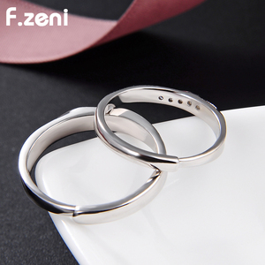 white Gold Plated Stainless Steel Couples Crystal Engagement Wedding Ring Jewelry