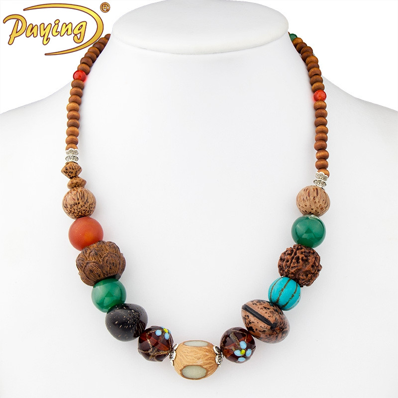 New fashion Thailand handmade summer beach boho dress accessories chunky wooden bead necklace