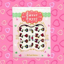 1PC Lovely 3D Cartoon Nail Art Sticker HCML 012 Manicure Plate Tips Rainbow Diamond Pattern Youth