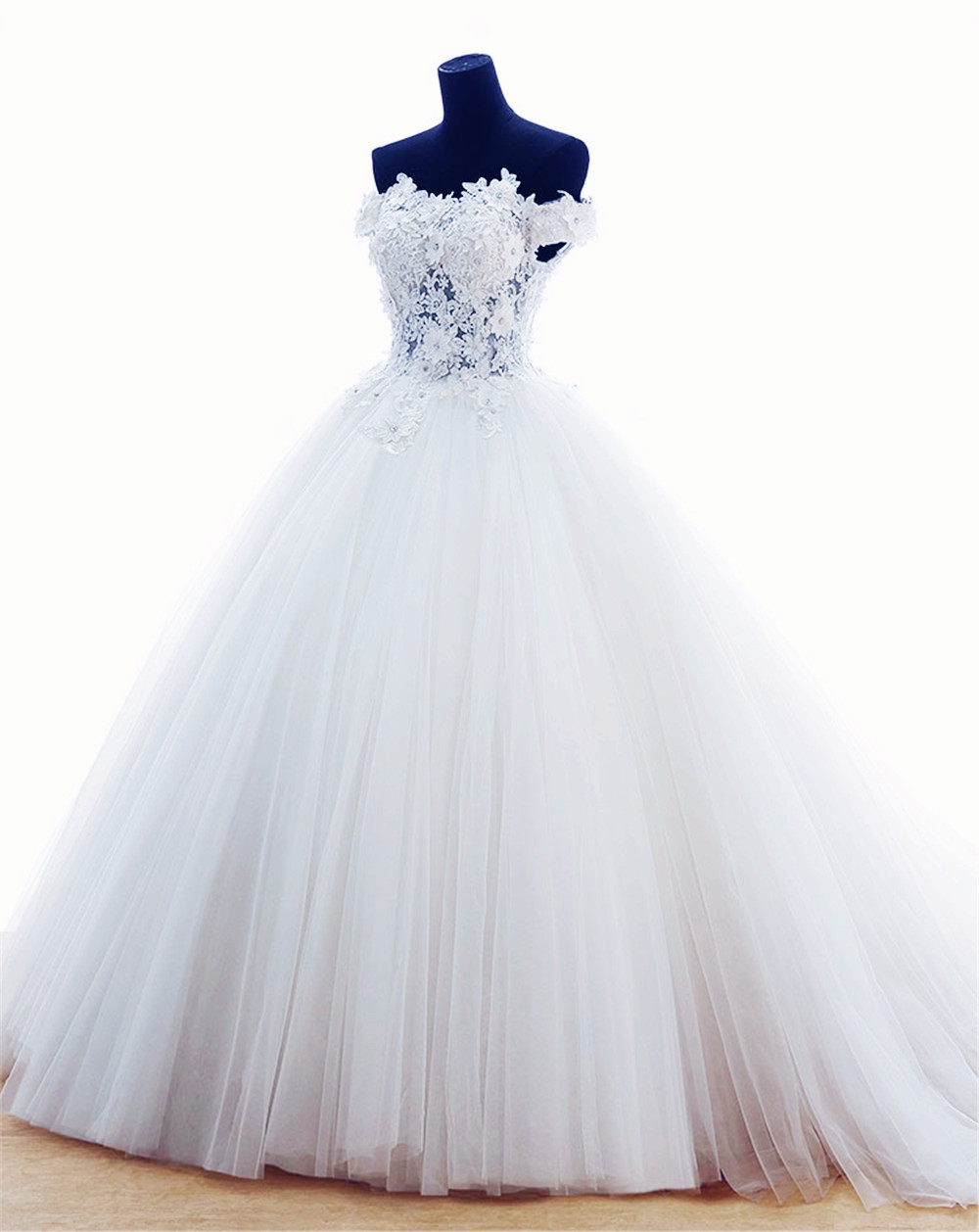 MANSA Luxury Ball Gown Wedding Dresses For Bride 2015 White Cap Sleeves Lace Appliques Tulle Wedding Dress Robe De Mariage