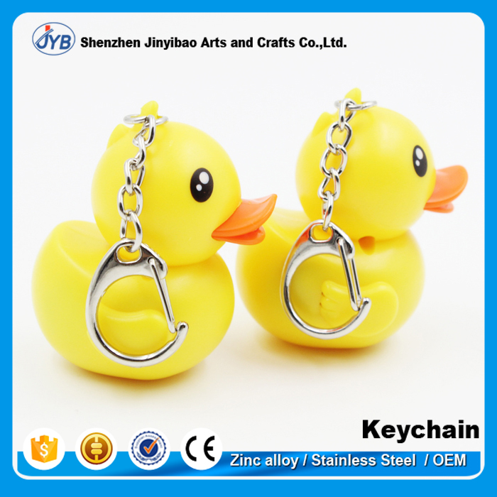 Custom logo Rubber Ducky Animals Shaped LED sound keychain