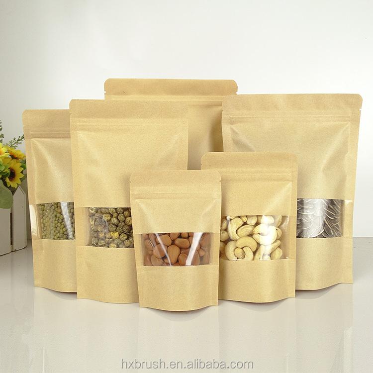 80g 100g 250g 500g 1kg emballage alimentaire en plastique sacs en papier kraft pour noix de cajou