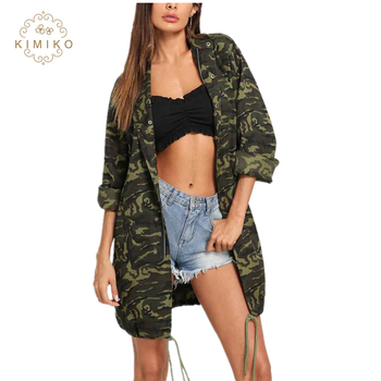New model military style drawstring hem classic women camo coat