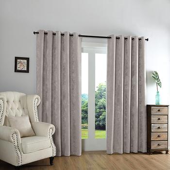eenvoudige zilveren stof gordijnen blackout grommet elegante gordijnen voor woonkamerzee themastudeerkamer