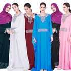 Newest Women's Muslim Arab Elegant Chiffon Embroidery Ethnic Batwing Sleeve Double Layer Islamic Maxi Dress Abaya Gowns