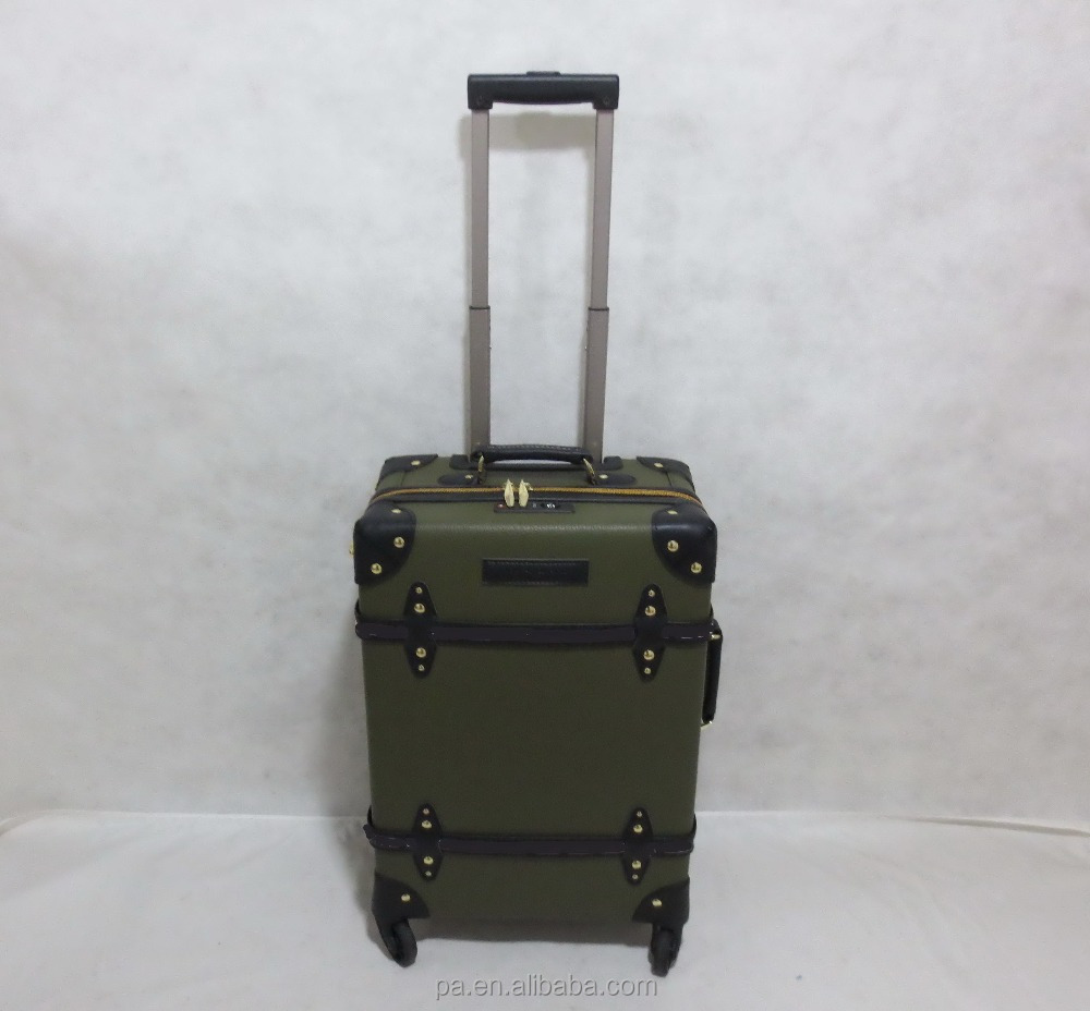 leather vintage luggage suitcase with TSA lock