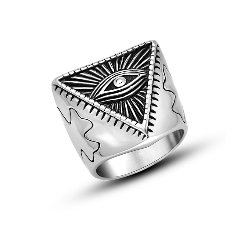 Jingli Jewelry factory wholesale stainless steel eye of providence all seeing eyes rings(YR-003)