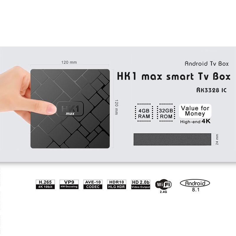 2018 New Tv Box Hk1 Max Rk3328 Quad Core Firmware Update 4g Ram 32g Rom -  Buy Quad-core 4gb Ddr3 32gb,Android 8 1 Tv Box With 4k Full Hd,Hk1 Max