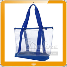Large Clear PVC Zipper Shopping Tote Bag