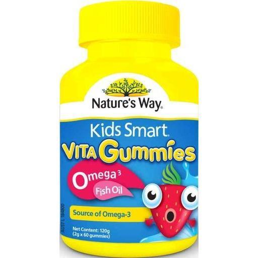 Nature's Way Kids Smart Vita Gummies Omega 3 Fish Oil 60 (Source of Omega 3) Made in Australia