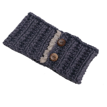 Yiwu wholesale knitted elastic band wide crochet headbands decorative  buttons ac2b904de67