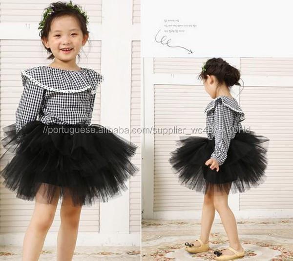 633ba60ceb Novo modelo de vestidos de tutu do bebé saia chaves vestido liso ...