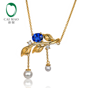 Wonderful 0.51ct Oval Sapphire And 0.5ct 3/4mm Freshwater Pearl 18k Yellow Gold Pendant Necklace