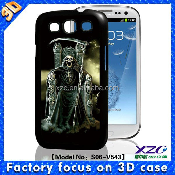 High quality wholesale 3D cell phone case for Samsung i9300 with 3D skull king with knife
