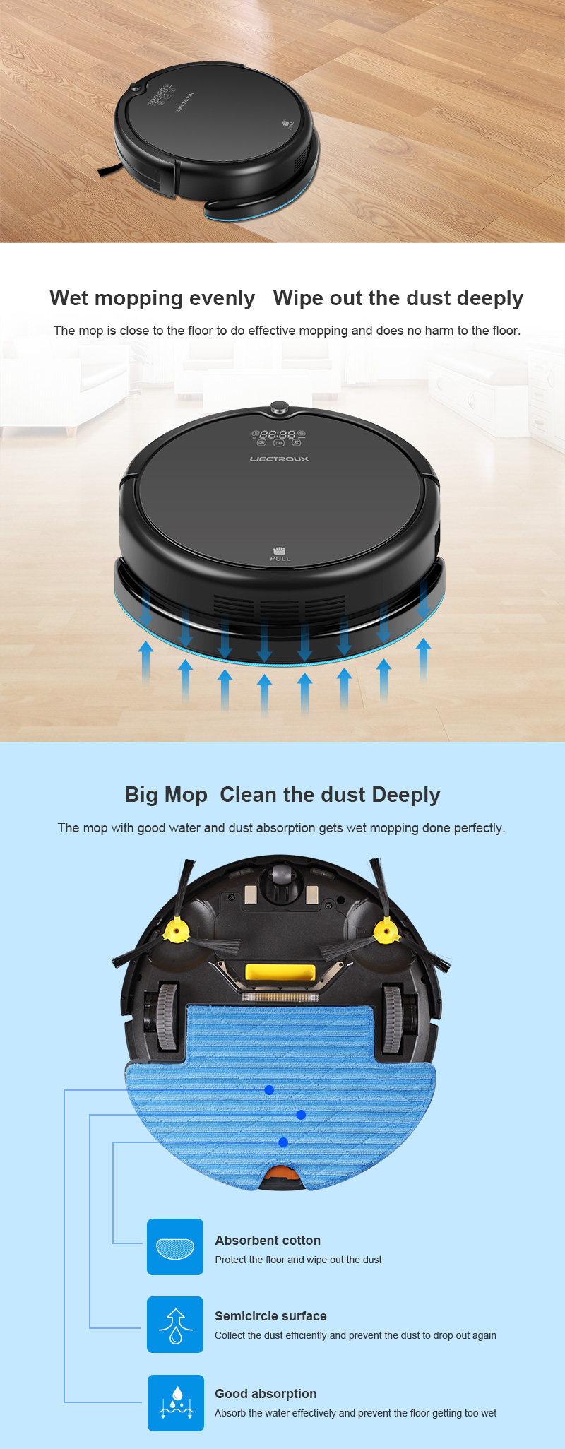 China Fábrica/OEM Q7000 Ziguezague o Modo de Programação de Limpeza de Limpeza Robô Aspirador de pó Auto Recarga Do Tanque de Água Wet & Dry limpeza