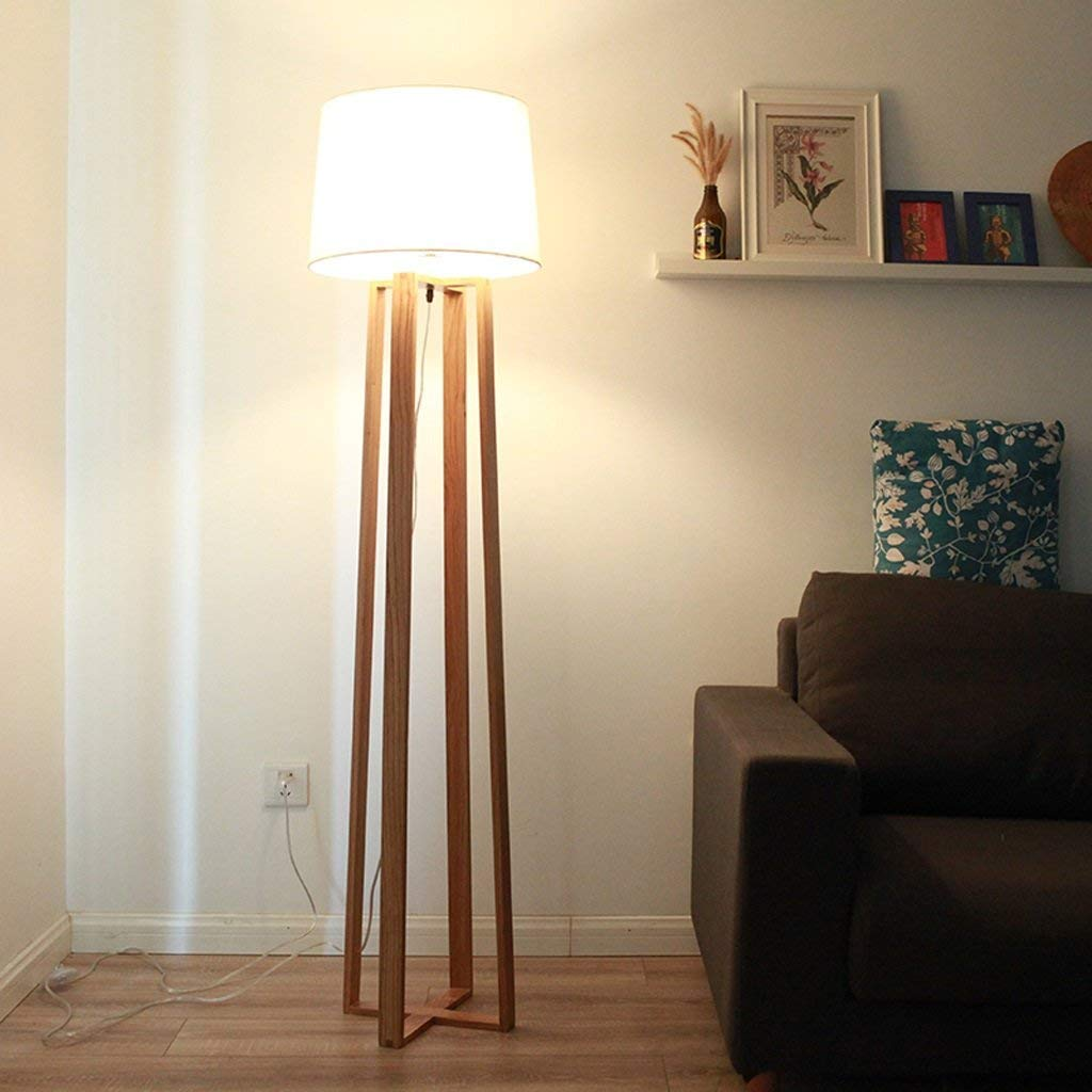 DEED Floor Lamp-Led Modern Personality Creative Floor Lamp Living Room Bedroom Study Floor Lamp Wooden Wood Floor Lamp Eye Protection Vertical Table Lamp