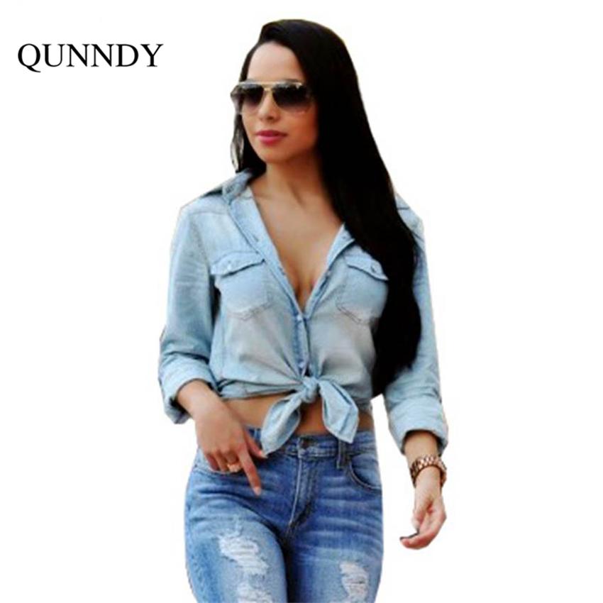 Compra Nudo de la mujer camisa vaquera online al por mayor