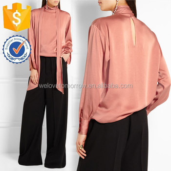 e207b5ed7cf74 Ladies Antique-rose Pussy-bow Charmeuse Blouse Manufacture Women Wholesale  Fashion Women Apparel(