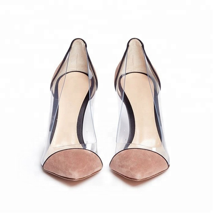 High On Heel Stiletto Slip Pointy Pointed Clear Toe Transparent Pumps nX70q0