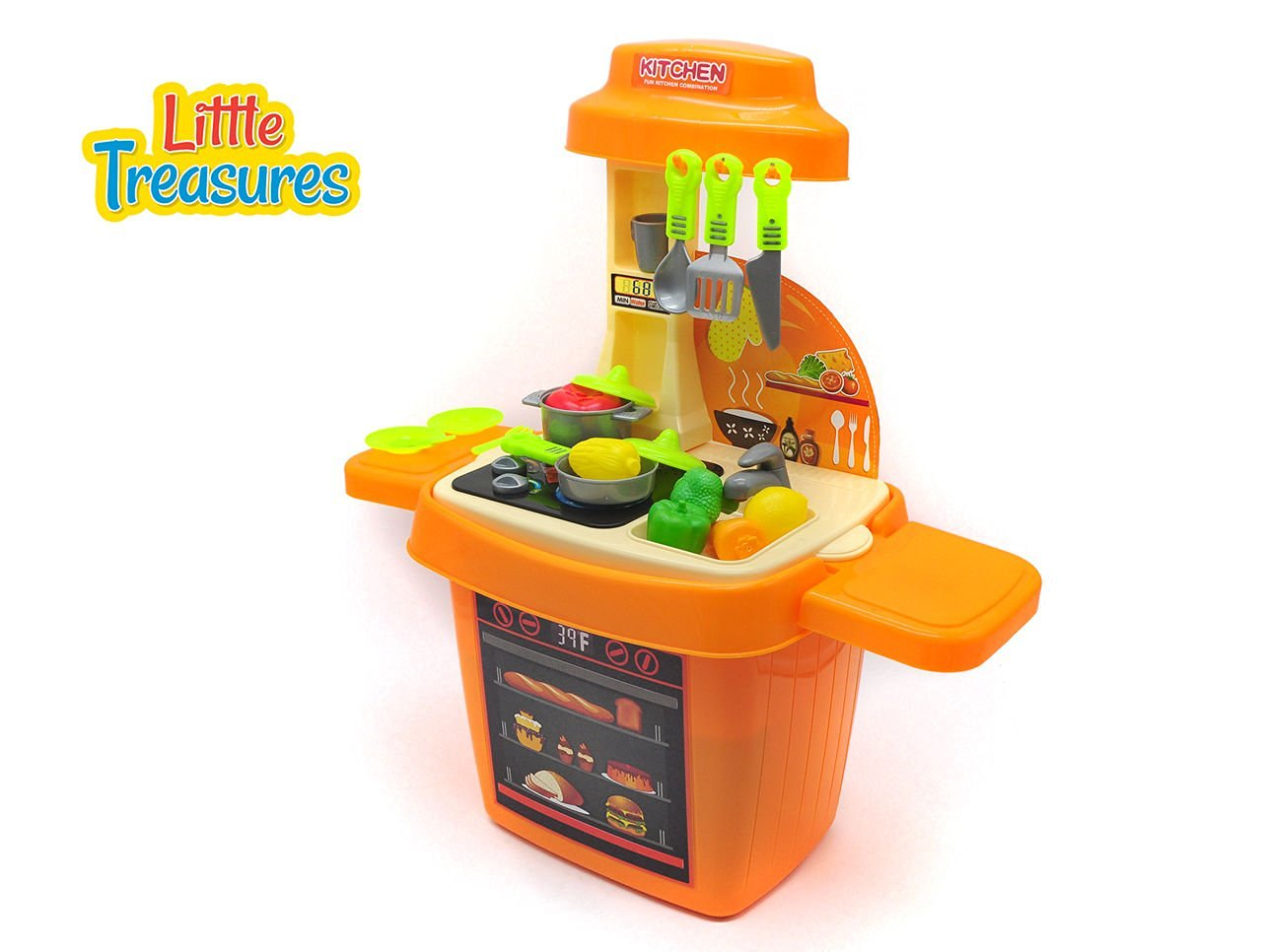Little Treasures Kitchen set – consists of 27 pieces for kids age 3+, a large kitchen stand made up of an oven, movable knobs, hanging hooks, washing sink, several vessels and vegetable toy models