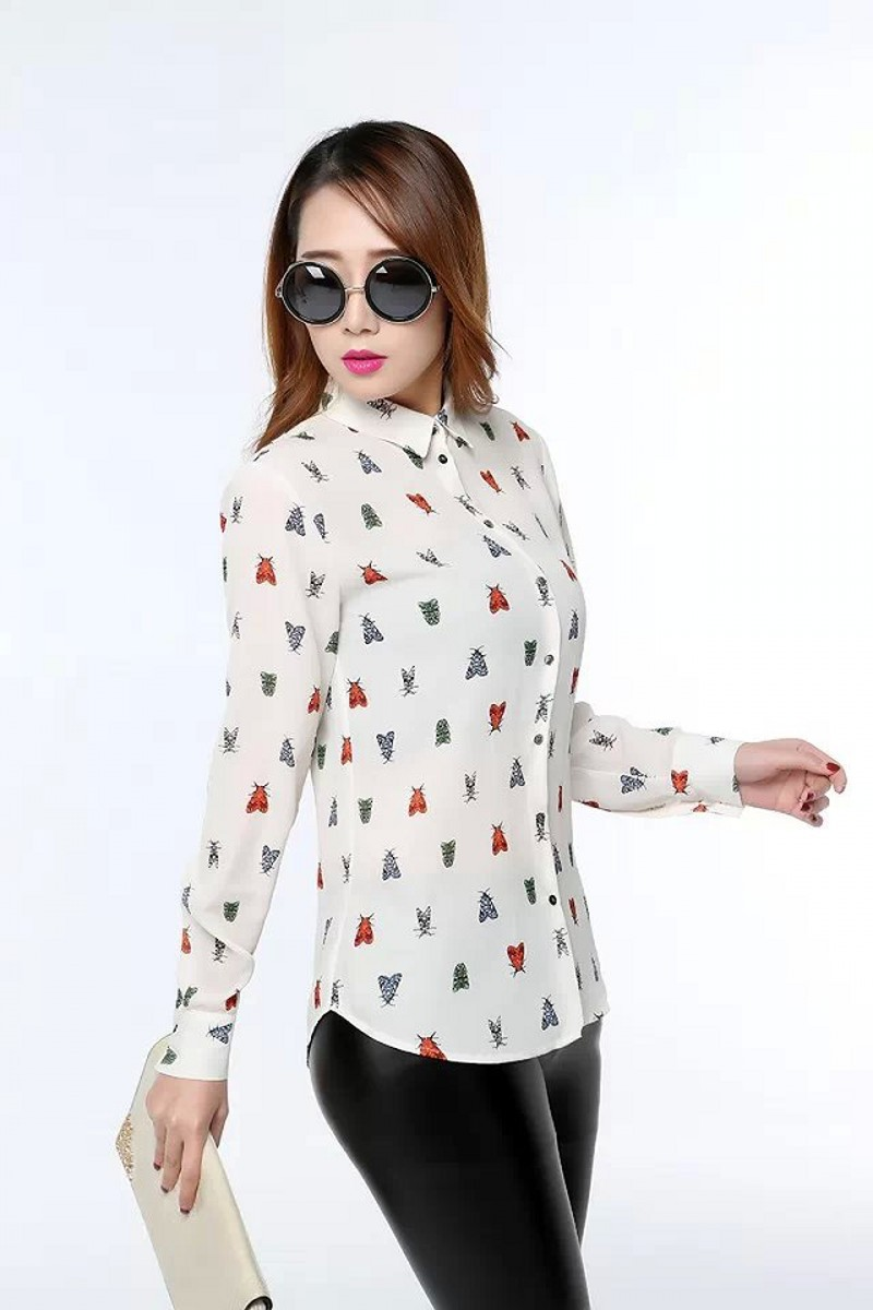2015 New Summer Style Chiffon Blouse Fashion Long Sleeve Lapel Insectd Print Women Shirts Elegant Slim Casual Blouses Tops