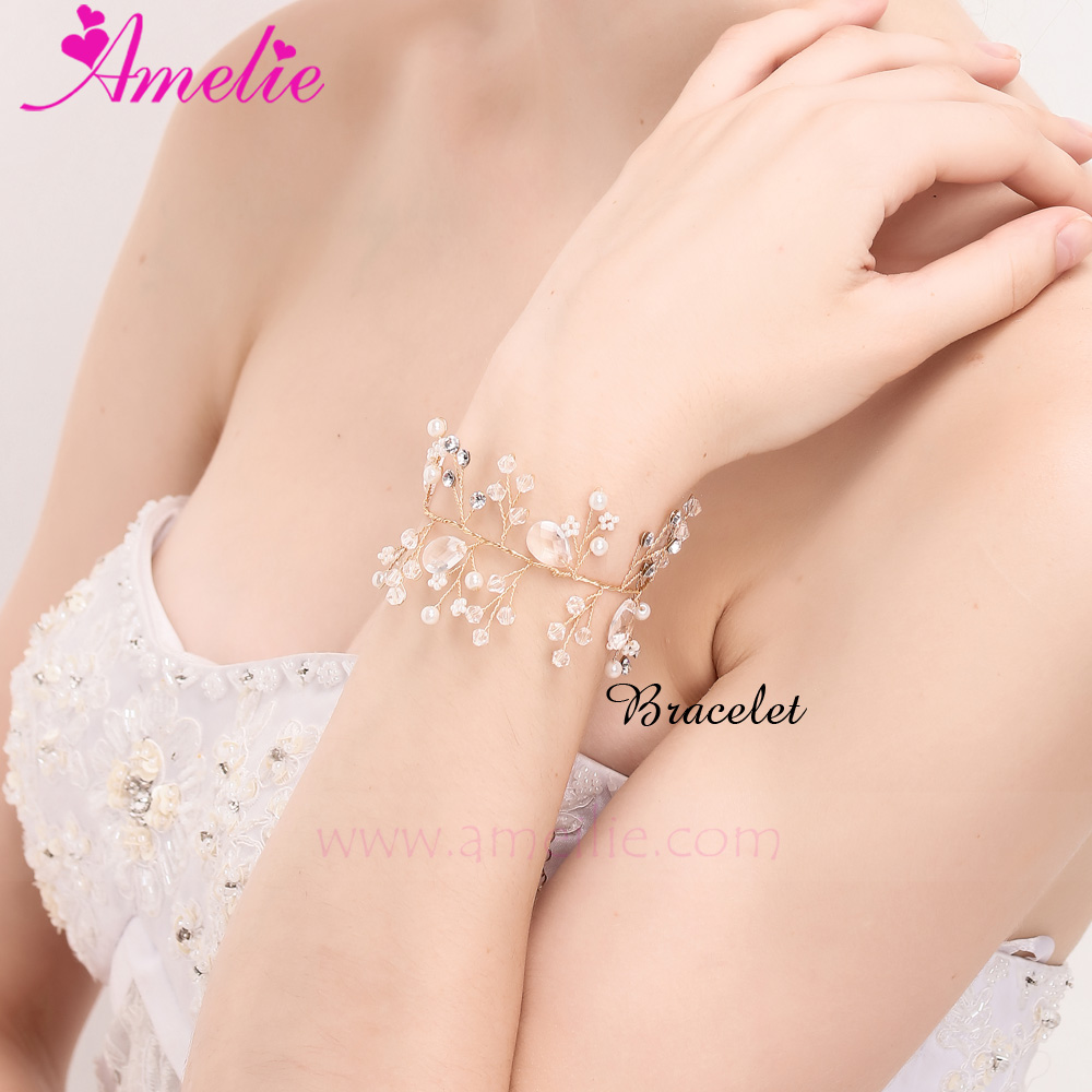 Handmade 2017 Frosted Floral Jewels Morning Dew Bracelet Weddinng Bridal Charm Bracelet with <strong>Hair</strong> <strong>Accessories</strong>