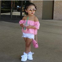 Unique Kids Clothing Baby Girls Clothes Sets Summer Girls denim short pink word shoulder coat + white s Children's Clothing