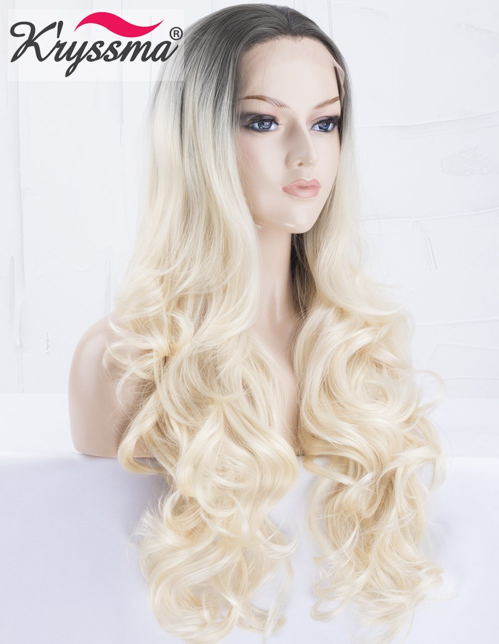 K ryssma Ombre White Blonde Lace Front Wig with Middle Parting Glueless  Long Wavy 2 Tone Black Roots to Platinum Blonde Synthetic Wigs for Women  Heat ... b6a56bfaebaf