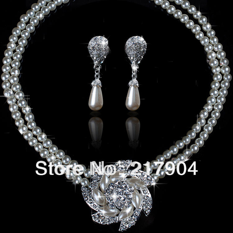 Cheap Pearl Necklace Sets: Wholesale Pearls Jewelry Sets Silver Plated Wedding