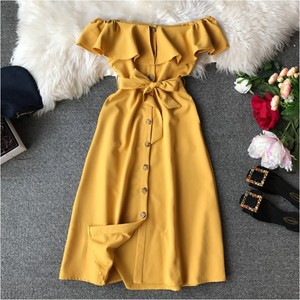 Hot Sexy Dress For Women Brief Button Off Shoulder Ruffle Belted Elegant Summer Dresses Ladies Casual Wear E6010