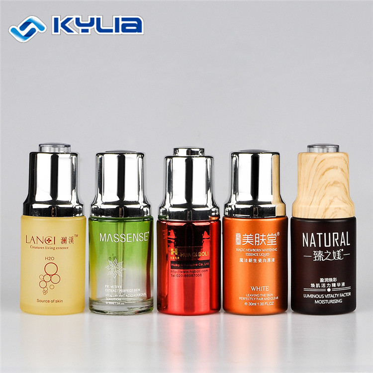 30ml wooden matte glass cosmetic essential oil dropper bottle