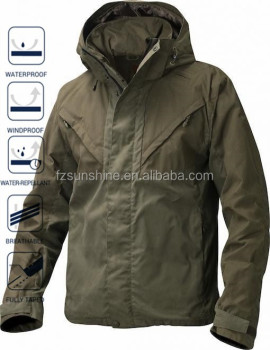 Waterproof Green Woodland Men Winter Jackets With Detachable Hood ...